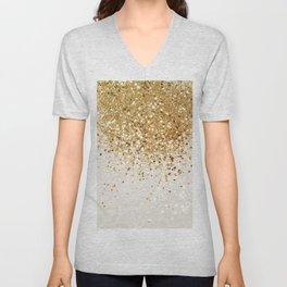 Sparkling Gold Glitter Glam #2 #shiny #decor #art #society6 Unisex V-Neck