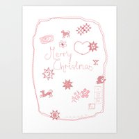 Merry Christmas Stitching Doodle Art Print