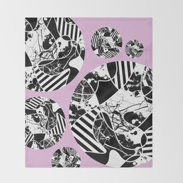Black And White Bubbles 2 - Multi patterned, multi textured stripes, paint splats and marble on pink Throw Blanket