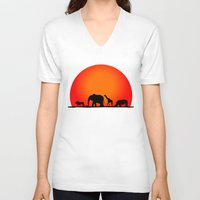 safari V-neck T-shirts featuring Animal Safari by Doctor Hue