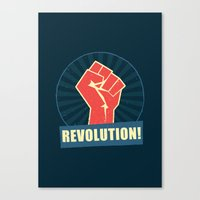 revolution Canvas Prints featuring REVOLUTION! by Word Quirk