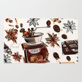 Coffee watercolor pattern with grains coffee mill and chocolate Rug