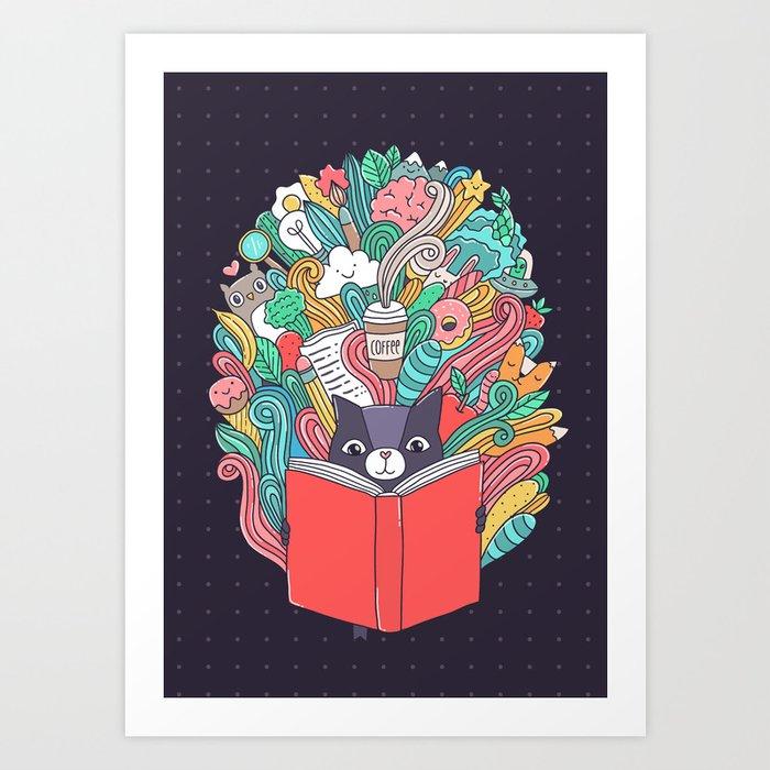 Cat reading a book. Art Print