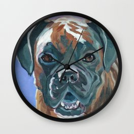 Boone the Boxer Dog Portrait Wall Clock