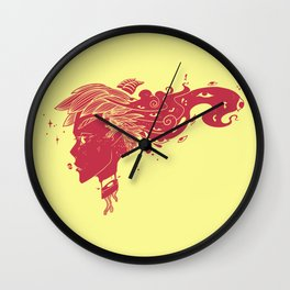 Devil Girl With Many Eyes And Horns Wall Clock