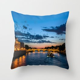 Illuminated Conciergerie at night, Paris, France. Throw Pillow