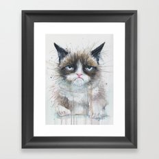 Grumpy Kitty Cat Framed Art Print