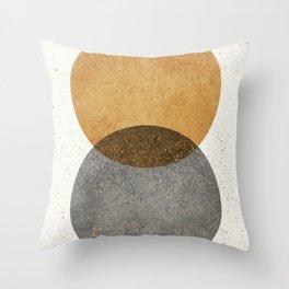 Circle Abstract - Gold Grey Texture Throw Pillow