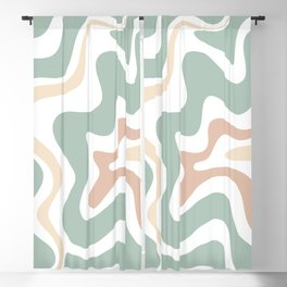 Liquid Swirl Abstract Pattern in Celadon Sage Blackout Curtain