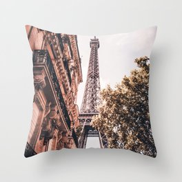Paris Eifel Tower Pink photography in HD Throw Pillow