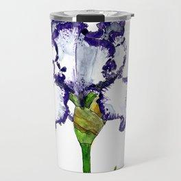 Purple and White Bearded Iris Travel Mug