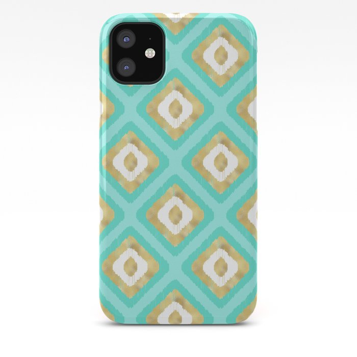 Gold & Turquoise Ikat Pattern iPhone Case