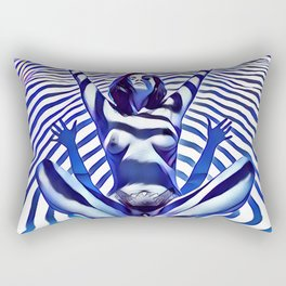 9911s-KMA_5200 Blue Stripe Seated Nude Arms Up Hands Out Belly Tattoo Rectangular Pillow