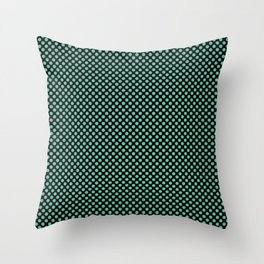 Black and Spearmint Polka Dots Throw Pillow