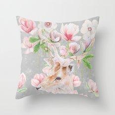 Deer Head & Magnolia's  Throw Pillow