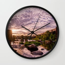 James River Sunset Wall Clock