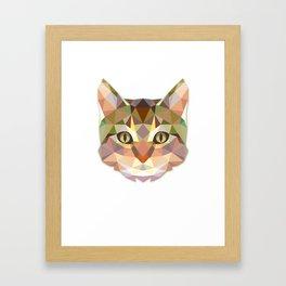 Cat Face Geometric Design Framed Art Print