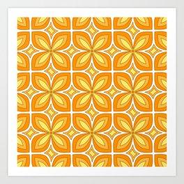 Simple Copper Flower Quad Petal Honey Yellow Spirit Organic Art Print