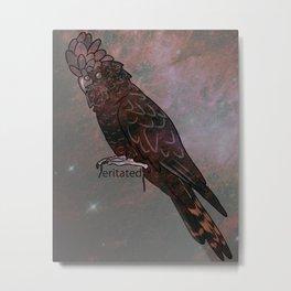 Space Galaxy Black Cockatoo Metal Print