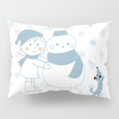 Happy snowman and a dog Pillow Sham