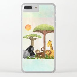 Watercolor Safari Animals Under Exotic Baobab Tree Clear iPhone Case