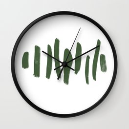 Minimalist Brush Strokes Green Wall Clock