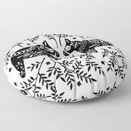 Swedish Dala Horses – Black Palette Floor Pillow
