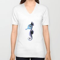 seahorse V-neck T-shirts featuring Seahorse by Heidy Curbelo