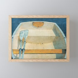 Yellow Boat Rowboat Framed Mini Art Print