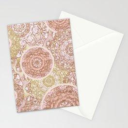 Rosey Gold Mandalas Stationery Cards
