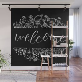 Welcome Florals Black Wall Mural