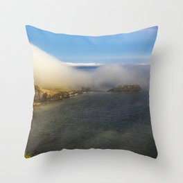 Saltwick Bay as the fog rolls in Throw Pillow
