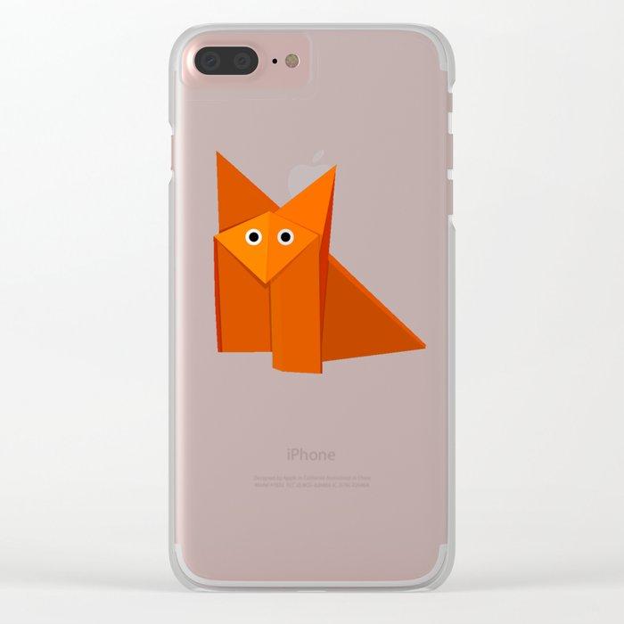 Dark Geometric Cute Origami Fox Clear iPhone Case