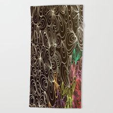 Coloring black Beach Towel