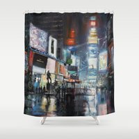 broadway Shower Curtains featuring Nights on Broadway by Scott Grabowski