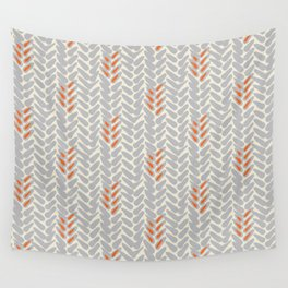 Orange and Grey Wheat Pattern Wall Tapestry