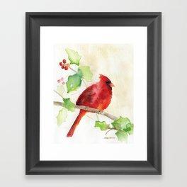 Cardinal and Holly Watercolor Framed Art Print