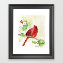 Cardinal and Holly Watercolor Framed Art Print