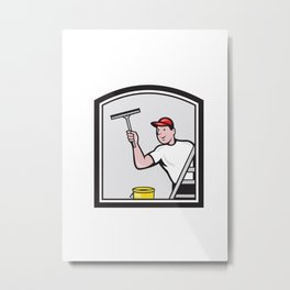 Window Washer Cleaner Cartoon Metal Print
