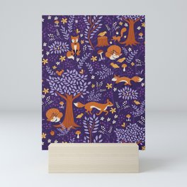 Foxes Playing in a Purple Forest Mini Art Print