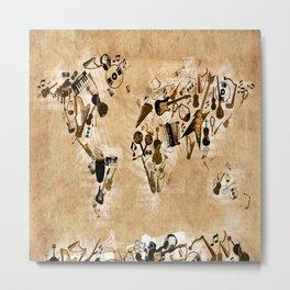 world map music 2 Metal Print