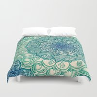 john green Duvet Covers featuring Emerald Doodle by micklyn