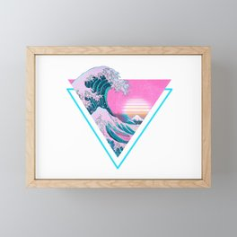 Vaporwave Aesthetic 90's Great Wave Off Kanagawa Framed Mini Art Print