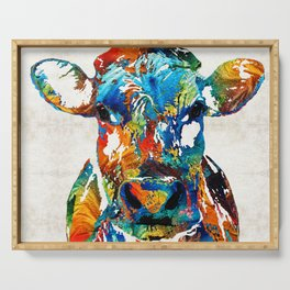 Colorful Cow Art - Mootown - By Sharon Cummings Serving Tray