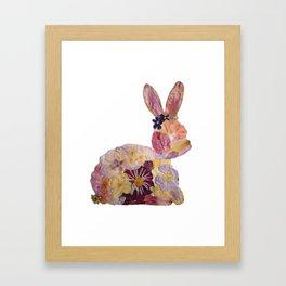 Pressed Flower Bunny Framed Art Print