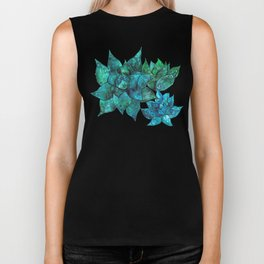 Watercolor painting -Green and blue Echeveria succulents Biker Tank