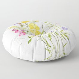 yellow pink white and  purple windflowers 2020 Floor Pillow