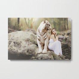 White Bengal Tiger With Japanese Woman Metal Print