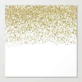 Sparkling gold glitter confetti on simple white background - Pattern Canvas Print