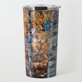 Birch Trees with Palette Knife by OLena Art for @society6 Travel Mug
